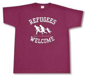 T-Shirt: Refugees welcome (burgund, weißer Druck)