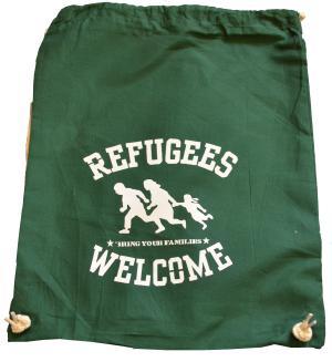 Sportbeutel: Refugees welcome (grün, weißer Druck)