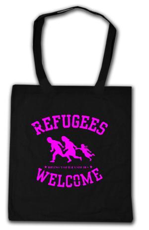 Baumwoll-Tragetasche: Refugees welcome (pink)