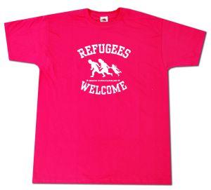 T-Shirt: Refugees welcome (pink, weißer Druck)