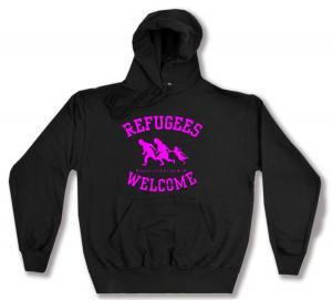 Kapuzen-Pullover: Refugees welcome (pink)