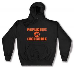 Kapuzen-Pullover: Refugees welcome (Quer)