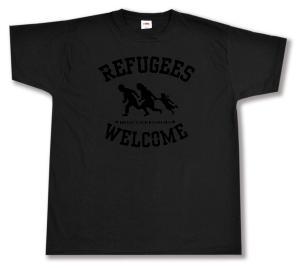 T-Shirt: Refugees welcome (schwarz)
