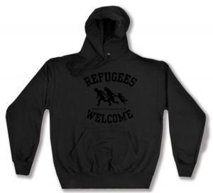 Kapuzen-Pullover: Refugees welcome (schwarz)