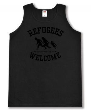 Tanktop: Refugees welcome (schwarz)