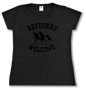 Girlie-Shirt: Refugees welcome (schwarz)