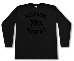 Longsleeve: Refugees welcome (schwarz)
