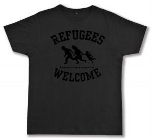Fairtrade T-Shirt: Refugees welcome (schwarz)