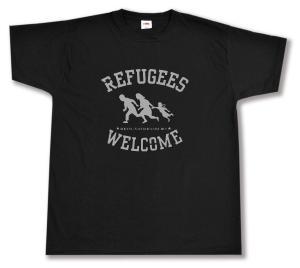 T-Shirt: Refugees welcome (schwarz/grauer Druck)