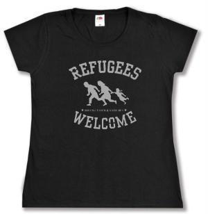 tailliertes T-Shirt: Refugees welcome (schwarz/grauer Druck)