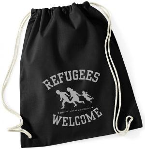 Sportbeutel: Refugees welcome (schwarz/grauer Druck)