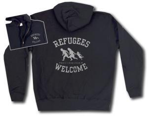 Kapuzen-Jacke: Refugees welcome (schwarz/grauer Druck)
