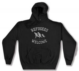 Kapuzen-Pullover: Refugees welcome (schwarz/grauer Druck)
