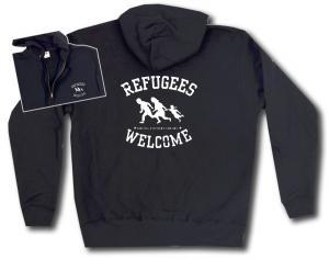 Kapuzen-Jacke: Refugees welcome (weiß)