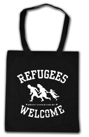 Baumwoll-Tragetasche: Refugees welcome (weiß)