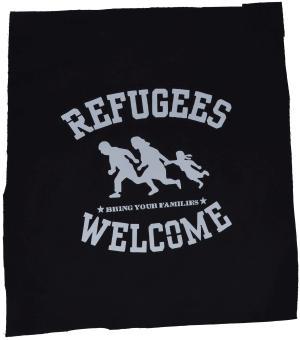Rückenaufnäher: Refugees welcome (weiß)