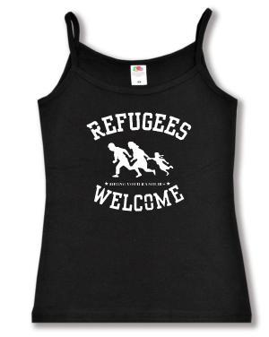 Trägershirt: Refugees welcome (weiß)