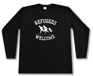Longsleeve: Refugees welcome (weiß)