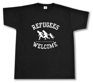 T-Shirt: Refugees welcome (weiß)