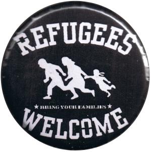 37mm Button: refugees welcome (weiß)
