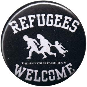 25mm Button: refugees welcome (weiß)