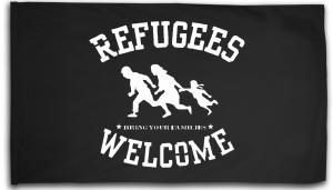 Fahne / Flagge (ca. 150x100cm): Refugees welcome (weiß)