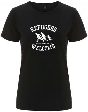 tailliertes Fairtrade T-Shirt: Refugees welcome (weiß)
