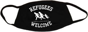 Mundmaske: Refugees welcome (weiß)