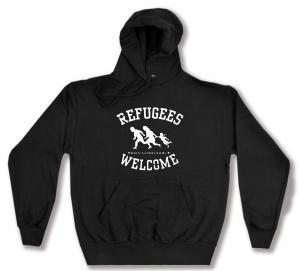 Kapuzen-Pullover: Refugees welcome (weiß)