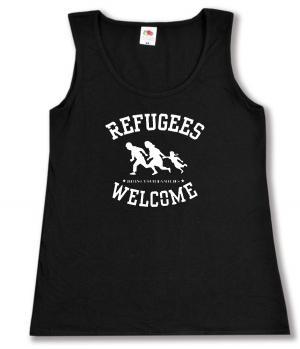 tailliertes Tanktop: Refugees welcome (weiß)