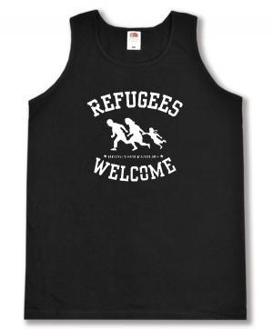 Tanktop: Refugees welcome (weiß)