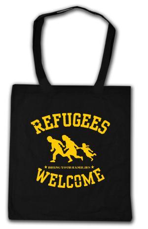Baumwoll-Tragetasche: Refugees Welcome