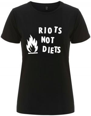 tailliertes Fairtrade T-Shirt: Riots not diets