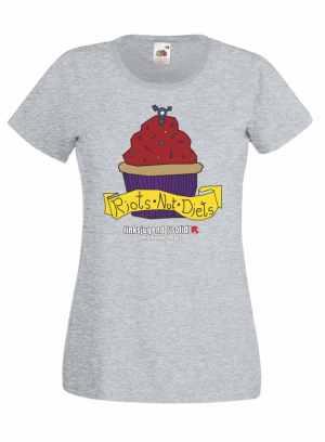Girlie-Shirt: Riots not diets Muffin grau Linksjugend