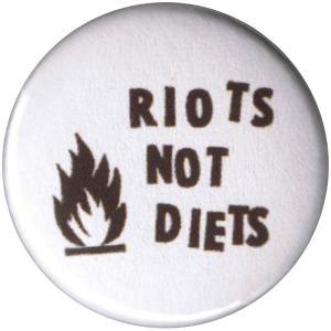 50mm Button: Riots not diets (schwarz/weiß)