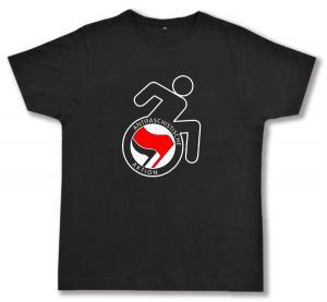 Fairtrade T-Shirt: RollifahrerIn Antifaschistische Aktion (rot/schwarz)
