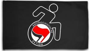 Fahne / Flagge (ca. 150x100cm): RollifahrerIn Antifaschistische Aktion (rot/schwarz)