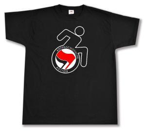 T-Shirt: RollifahrerIn Antifaschistische Aktion (rot/schwarz)