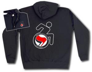 Kapuzen-Jacke: RollifahrerIn Antifaschistische Aktion (rot/schwarz)