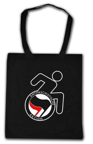 Baumwoll-Tragetasche: RollifahrerIn Antifaschistische Aktion (schwarz/rot)