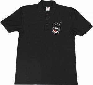 Polo-Shirt: RollifahrerIn Antifaschistische Aktion (schwarz/rot)