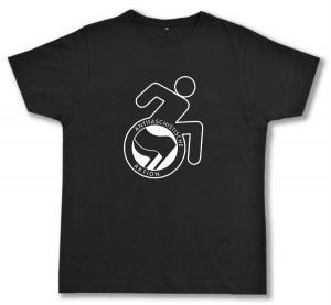 Fairtrade T-Shirt: RollifahrerIn Antifaschistische Aktion (schwarz/schwarz)