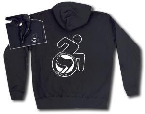 Kapuzen-Jacke: RollifahrerIn Antifaschistische Aktion (schwarz/schwarz)