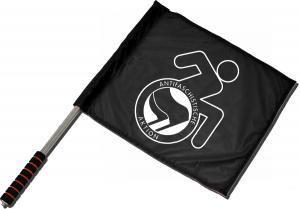 Fahne / Flagge (ca. 40x35cm): RollifahrerIn Antifaschistische Aktion (schwarz/schwarz)