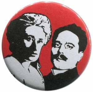50mm Magnet-Button: Rosa Luxemburg / Karl Liebknecht