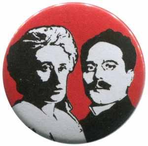 25mm Magnet-Button: Rosa Luxemburg / Karl Liebknecht