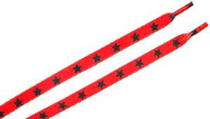 Schnürsenkel: Rote Schnürsenkel mit schwarzen Sternen