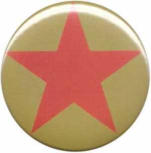 25mm Button: Roter Stern auf oliv/grünem Hintergrund