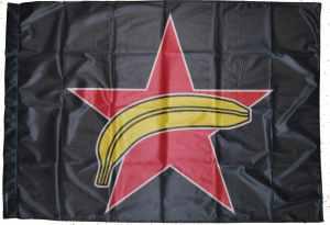 Fahne / Flagge (ca. 150x100cm): Roter Stern + Banane