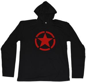 Kapuzen-Longsleeve: Roter Stern im Kreis (red star)
